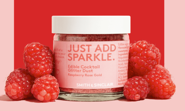 Smith & Sinclair Just Add Sparkle Edible Cocktail Glitter Dust Raspberry Rose Gold