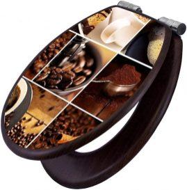 Klodeckel aus Holz mit Motiv-Collage Kaffee
