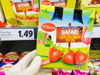 Lidl Milbona Fruit King Safari Quetschies to go Erdbeere mit Flamingo-Motiv 4x80G