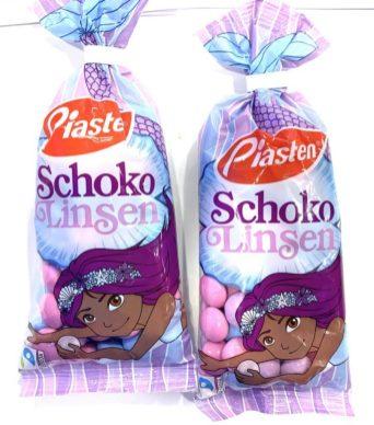 Piasten SchokoLinsen Meerjungfrau FairTrade weniger Minze Meerjungfrau bei Süßigkeiten