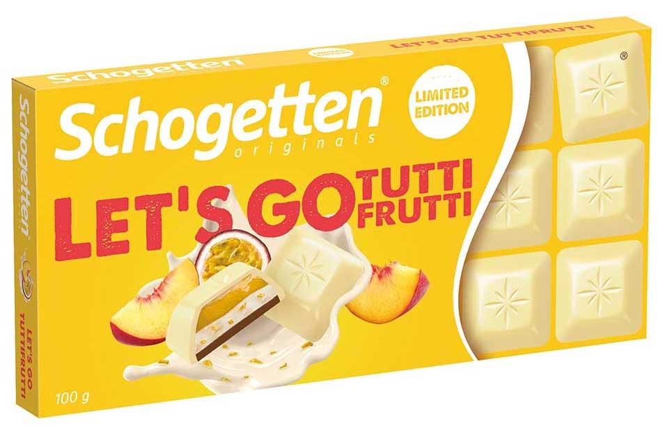 Trumpf Schogetten Let's go Tutti Frutti Weiß mit Pfirsich und Maracuja-Füllung