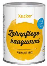 Xucker Zahnpflegekaugummi in der Dose. Geschmack: Fruchtmix.