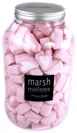 Mellow Mellow Marshmallow-Herzen in weiß-pinker Herzform in der großen Kunststoffdose.