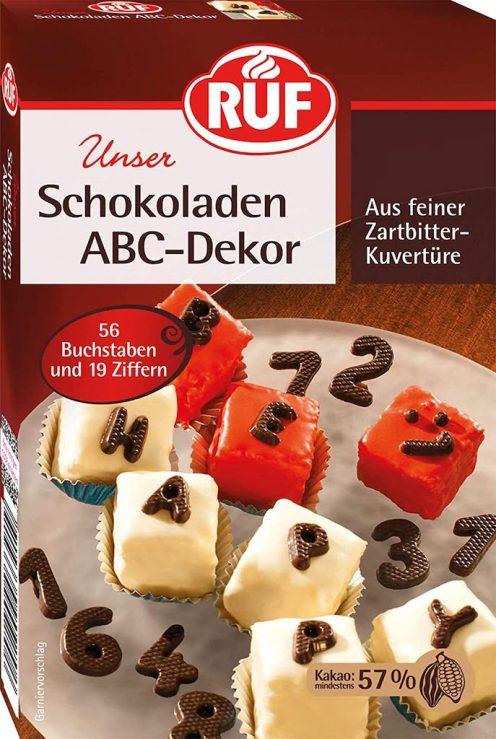 RUF Unser Schokoladen ABC-Dekor aus Zartbitter-Kuvertüre