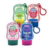 "Handgel von ""Charms"" der Reihe Blow Pop in den Sorten ""Sour Apple"", ""Cherry"", ""Watermelon"" und ""Blue RazzBerry""."