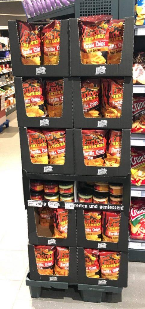 EDEKA Don Enrico Mexicano Tortilla Chips Chili POS-Display