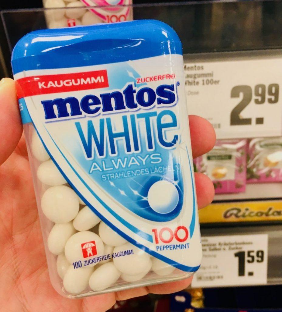 Mentos White Always 100 Peppermint Kaugummi Zuckerfrei