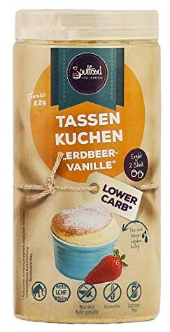 Soulfood Tassenkuchen Erdbeer-Vanille Lower Carb