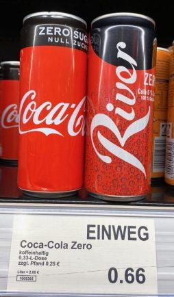 Aldi Coca Cola Zero versus River Cola Zero