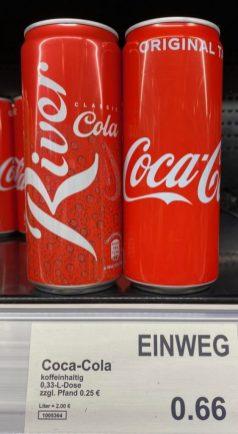 Aldi River Cola versus Coca Cola