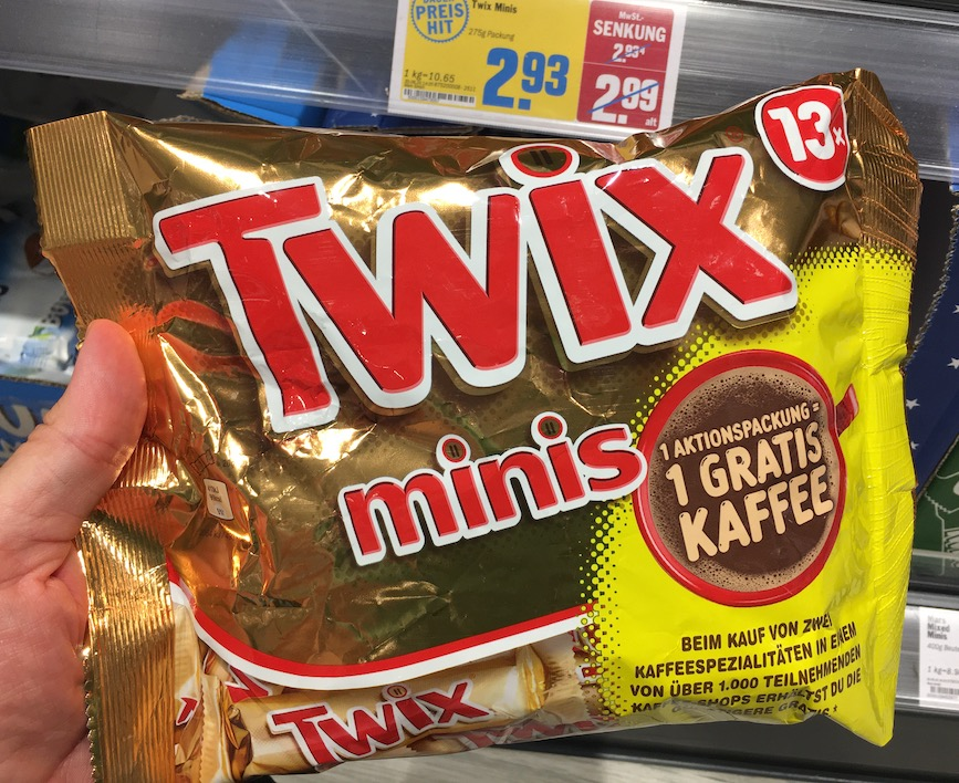 Mars Twix Minis 275G Aktion Kaffee gratis