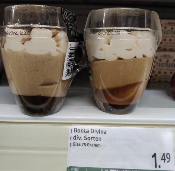 Bonta Divina Caramel Macchiato 75G Gekühltes Dessert im Glas seitlich