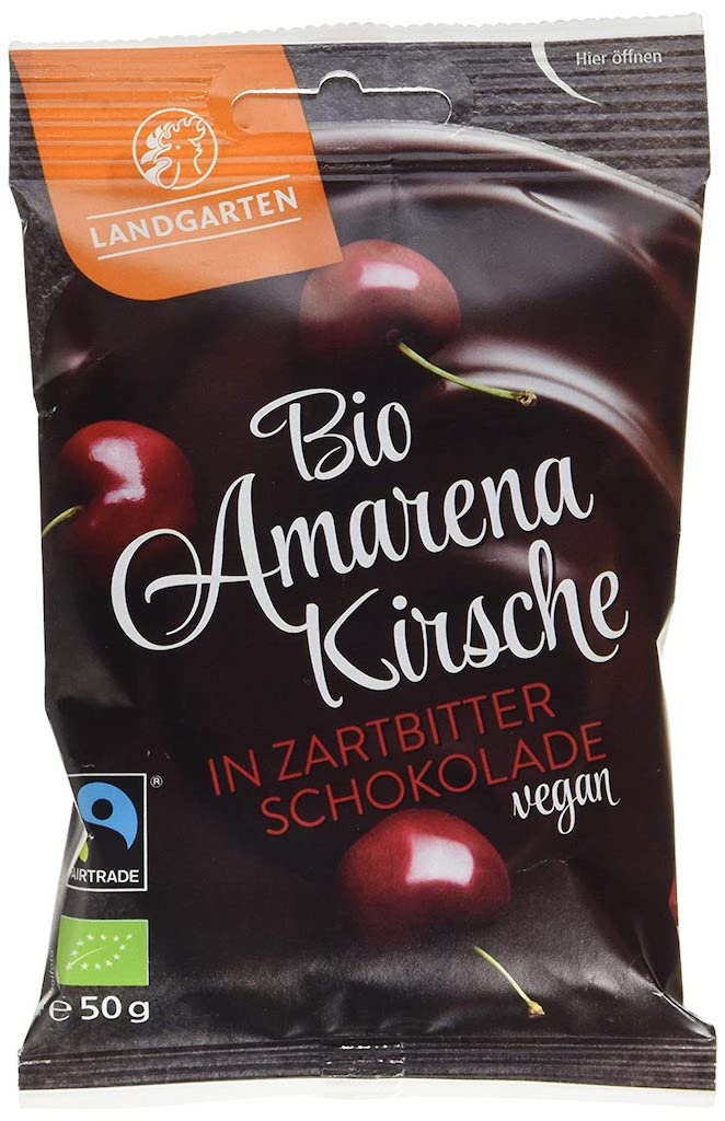 Landgarten Bio Amarenakirsche in Zartbitterschokolade vegan 50G