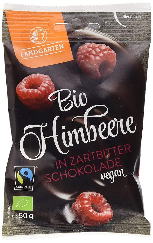 Landgarten Bio Himbeere in Zartbitterschokolade vegan 50G