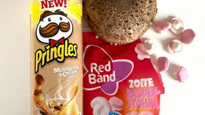 Pringles mit Pilzgeschmack Schaumzuckerpilze von Red Band und zwei Parasol-Schirme