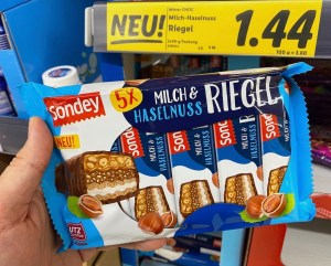 Lidl Sondey Milch-+Haselnuss-Riegel 5er Knoppers Nussriegel-Imitat