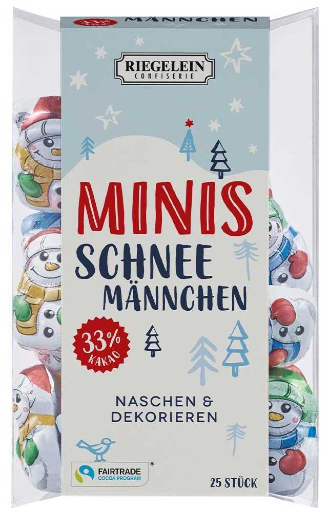 Riegelein Minis Schneemännchen zum Naschen und Dekorieren Fairtrade 25er