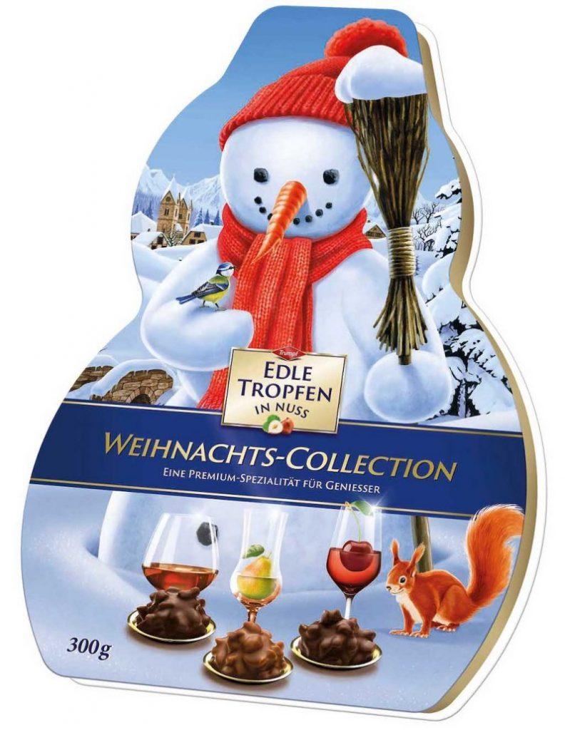 Trumpf Edle Tropfen in Nuss Weihnachts-Collection Schneemann 300g