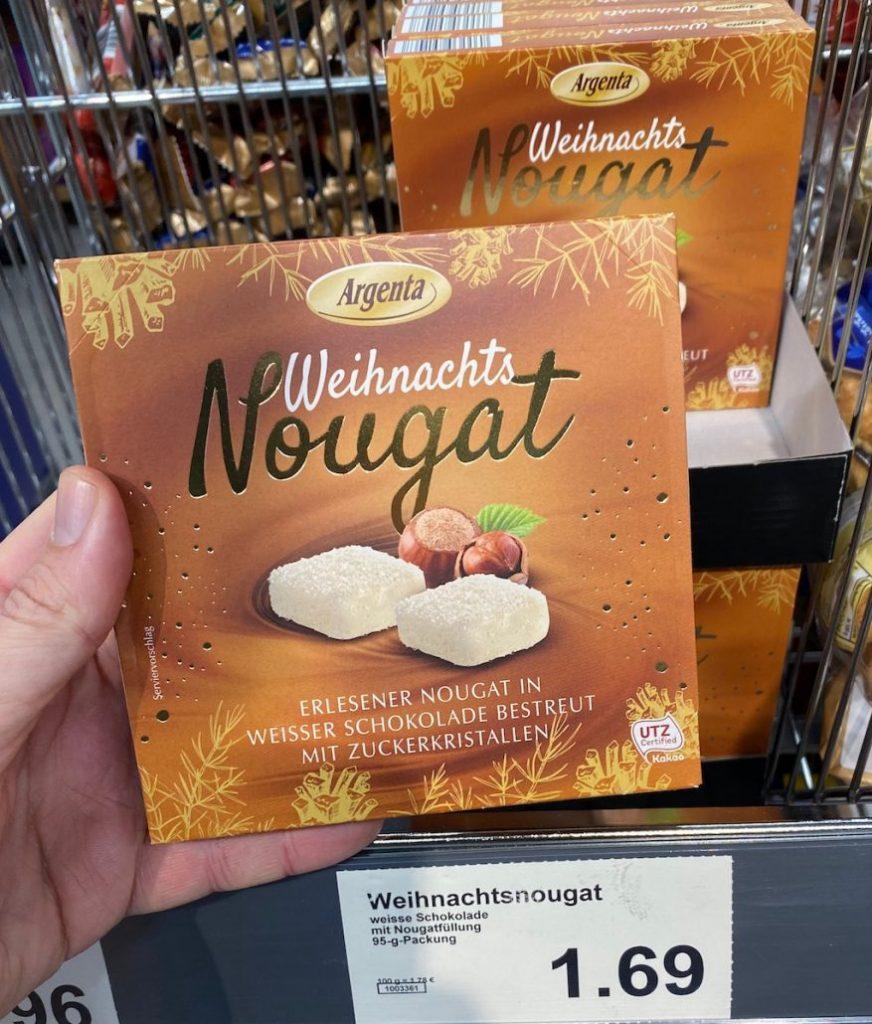 Aldi Argenta Weihnachts-Nougat ERlesener Nougat in Weißer Schokolade bestreut mit Zuckerkristallen 95G