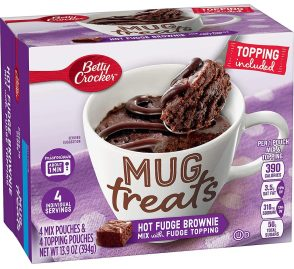 Betty Crocker Mug treats Tassenkuchen Ht Fudge Brownie Mix mit Fudge Topping 4er 394G