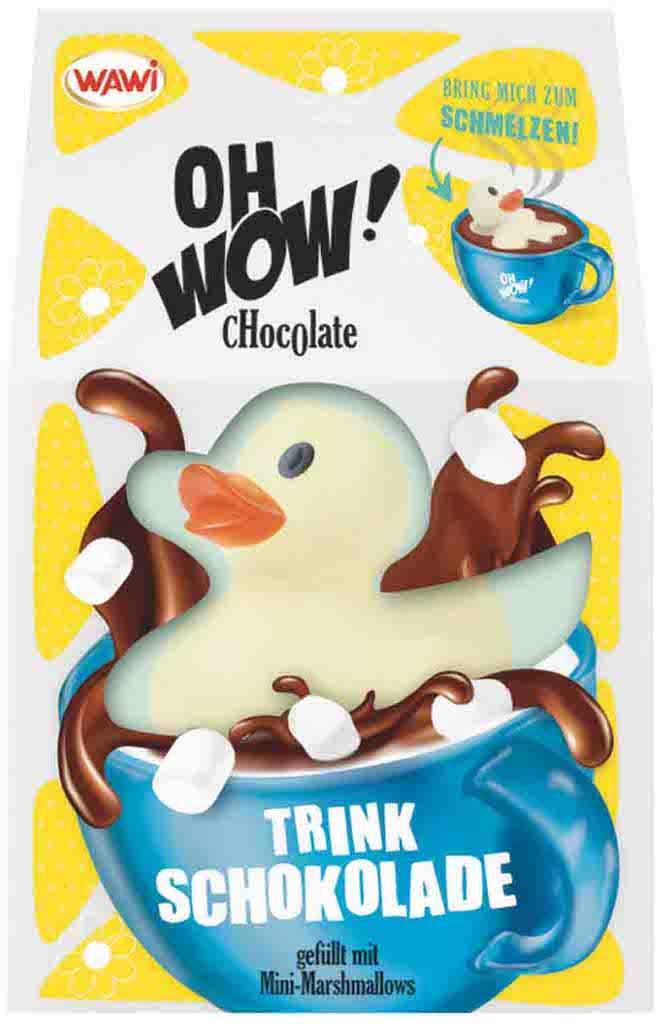 Wawi Oh WOW Trinkschokolade in Form einer Ente gefüllt mit Minimarshmallows 75g