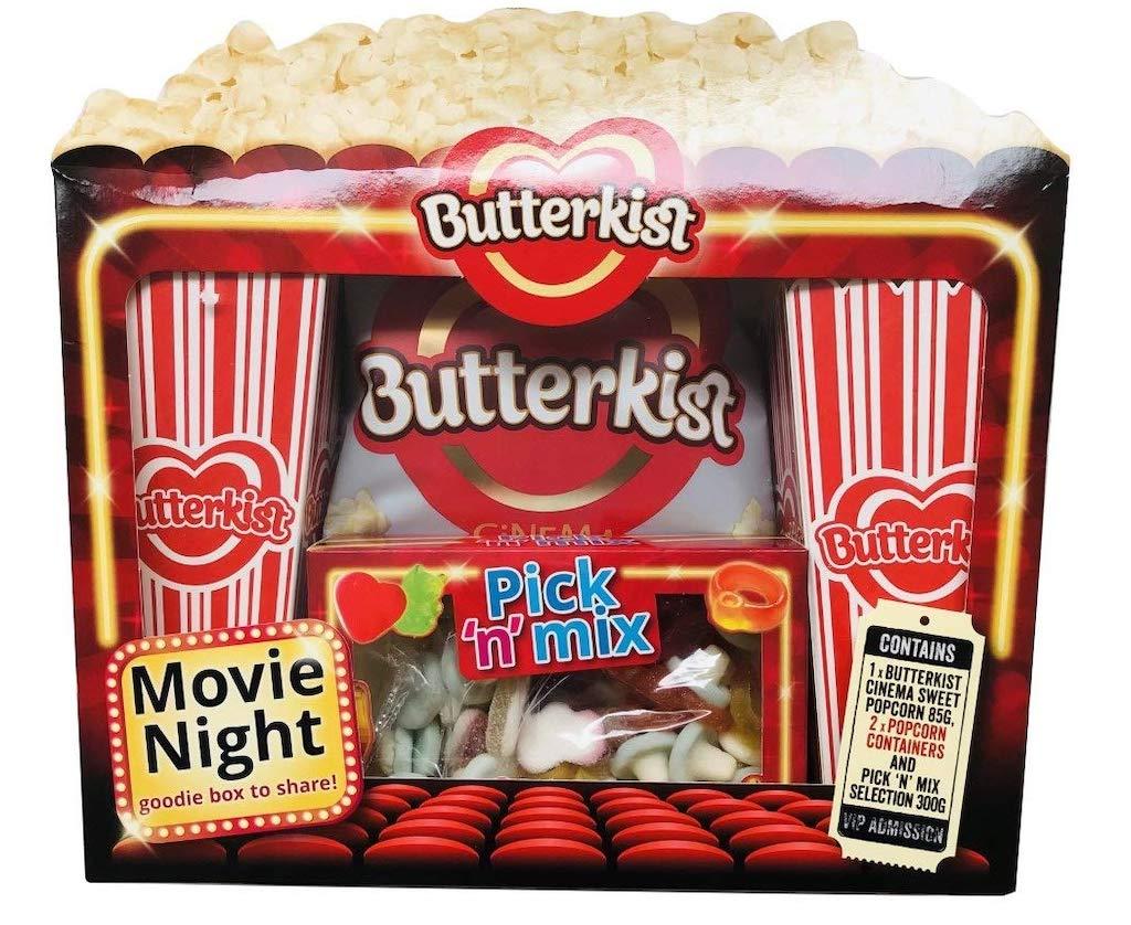 Butterkist Movie Night Box Popcorn Pick n Mix Fruchtgummi Set mit Pappbechern