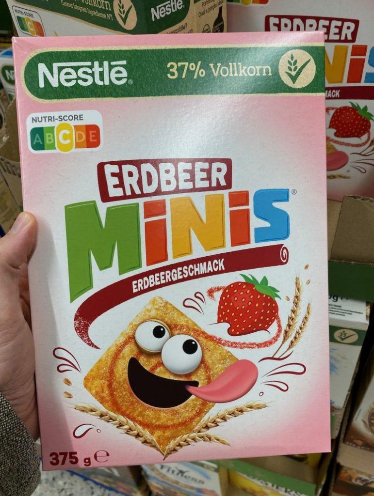 Nestlé Erdbeer Minis Nutri-Score 375G