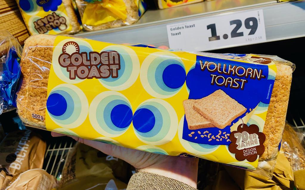 Golden Toast Vollkorn 70er Jahre-Motiv blau-gelb 500G
