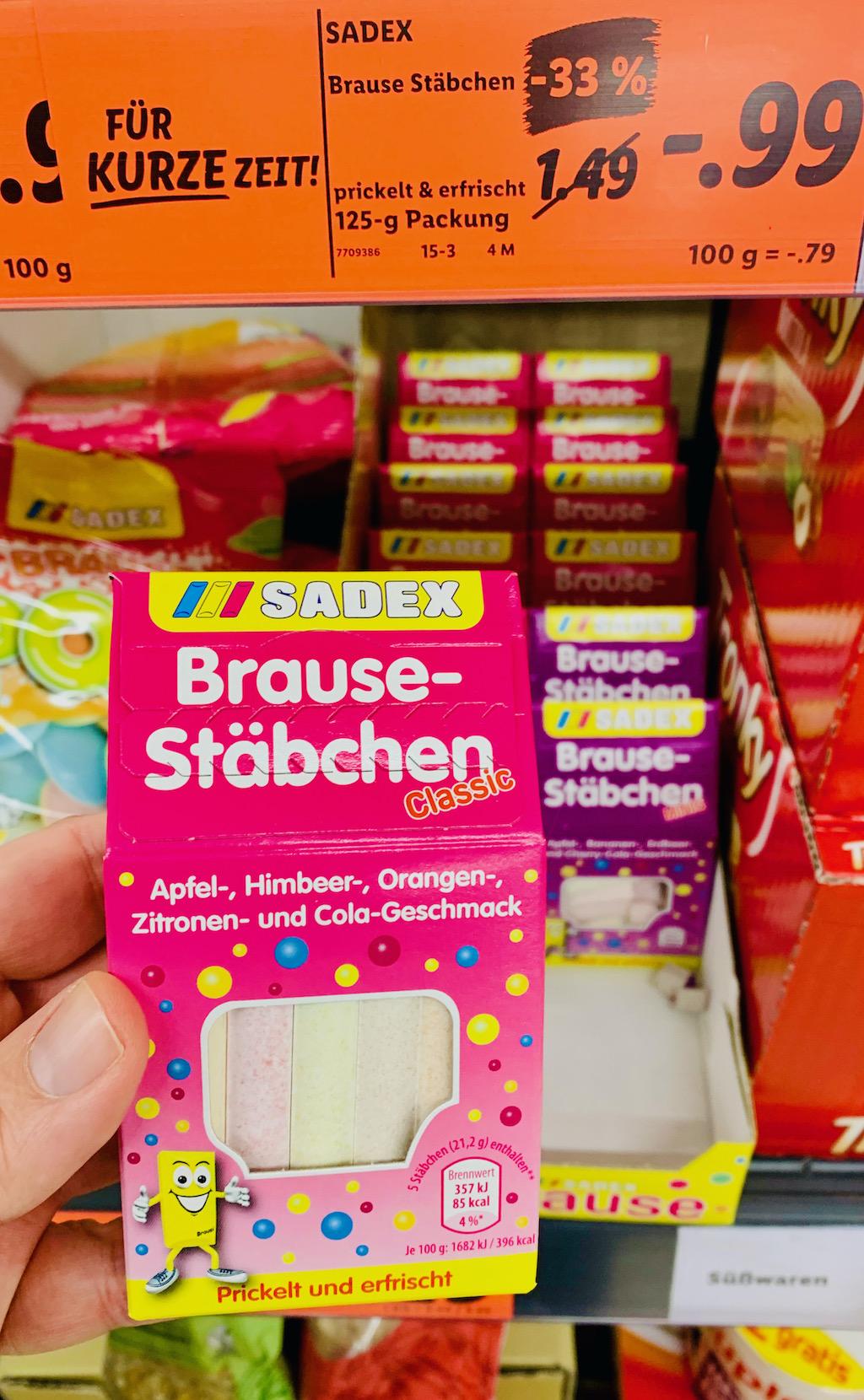 Sadex Brausestäbchen Apfel-Himbeere-Orangen-Zintrone-Cola 125G