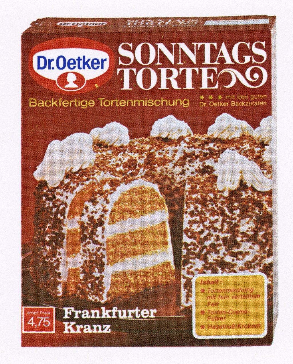 Dr. Oetker 1971 Erstes Backmischung Sonntagstorte Frankfurter Kranz