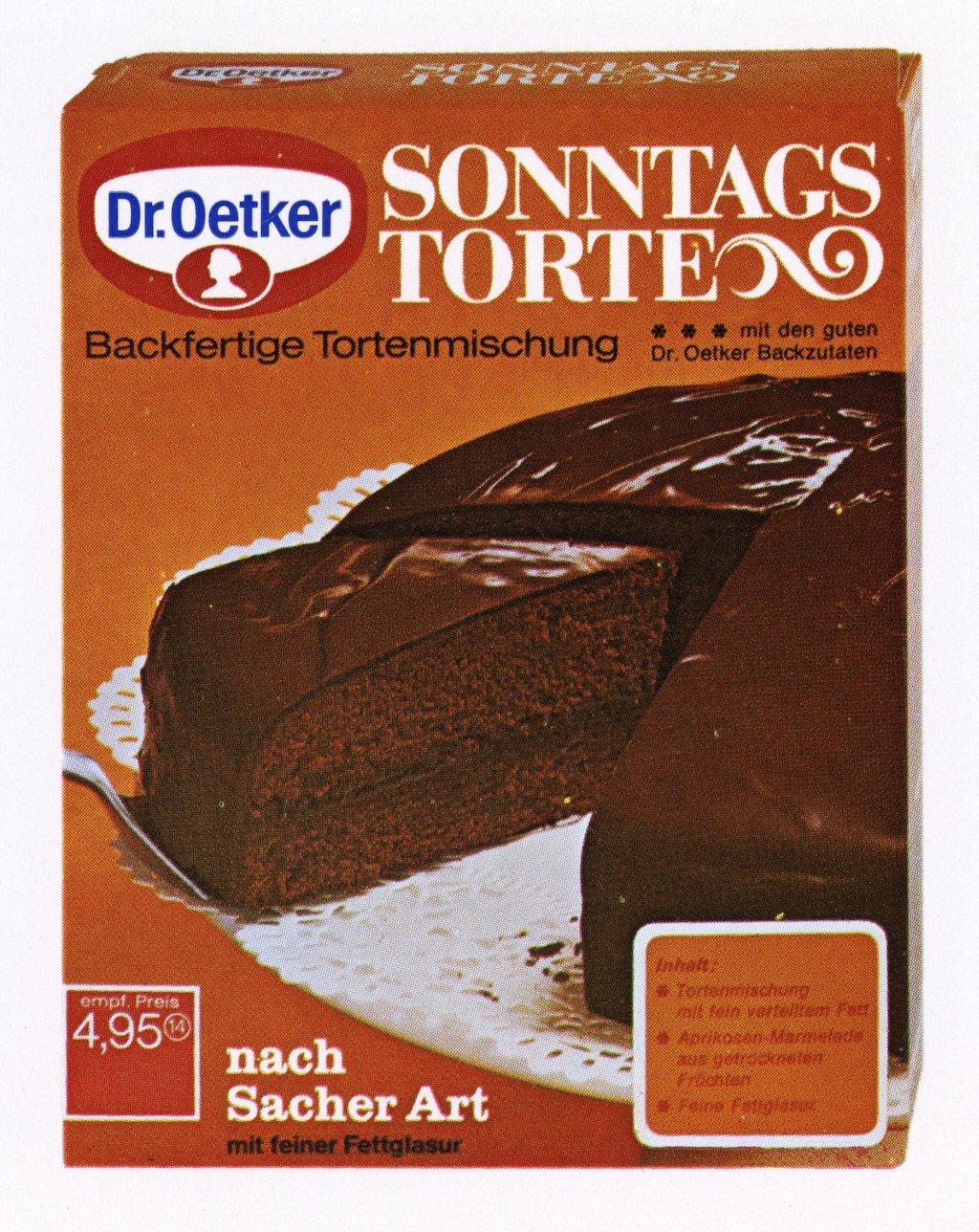 Dr. Oetker_1971_Erstes Backmischung Sonntagstorte nach Sacher Art mit feiner Fettglasur