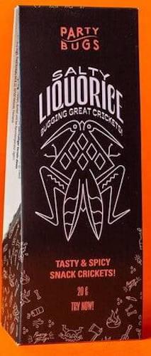 Party Bugs Salty Liquorice Snack Crickets 20G Insekten Grillen