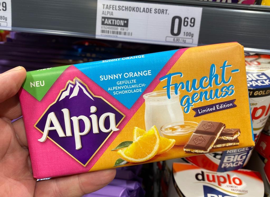 Alpia Fruchtgenuss Schokolade Sunny Orange Limited Edition 2021