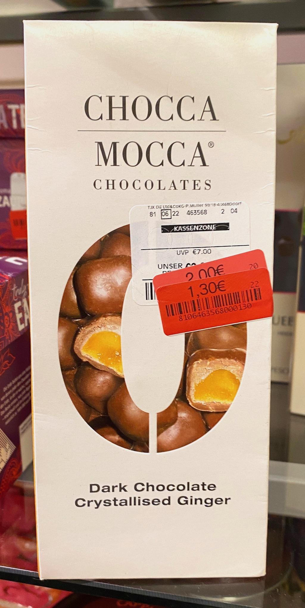Chocca Mocca Chocolates Dark Chocolate Crystallised Ginger