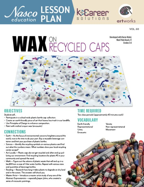 Wax on Recycled Caps lesson plan