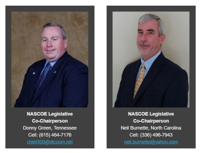 Photos of Donny Green and Neil Burnette, NASCOE Legislative Co-Chairs.