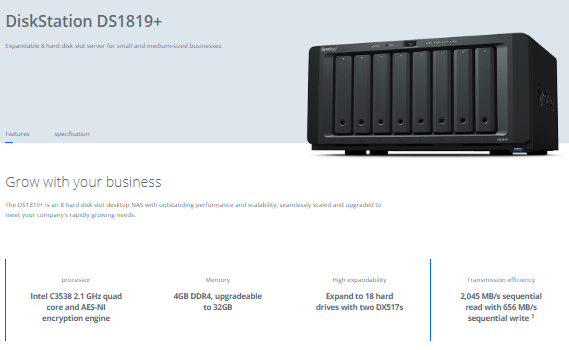 price and availability of the Synology DS1819+ - NAS Compares