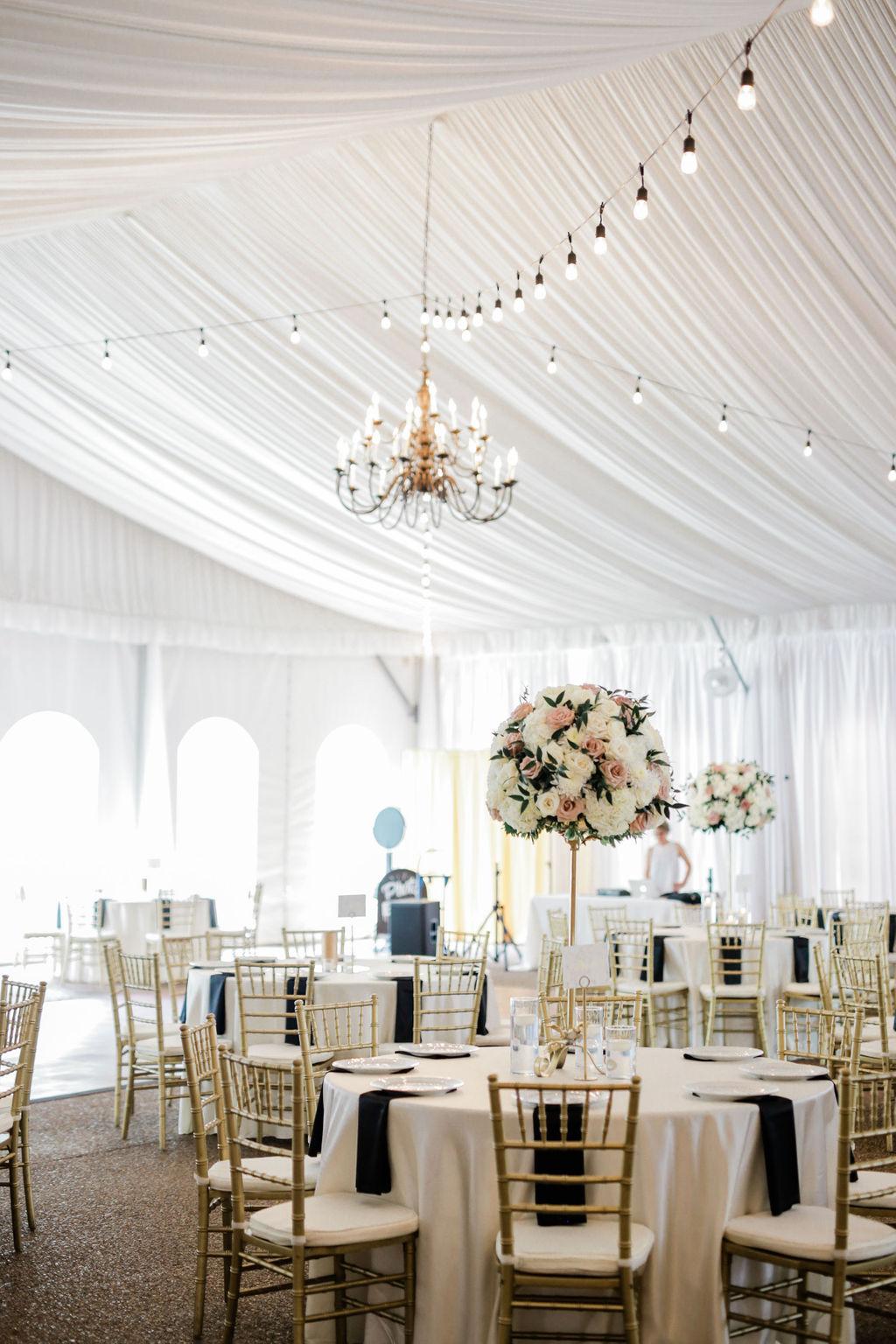 Wedding reception decor for Riverwood Mansion wedding featured on Nashville Bride Guide