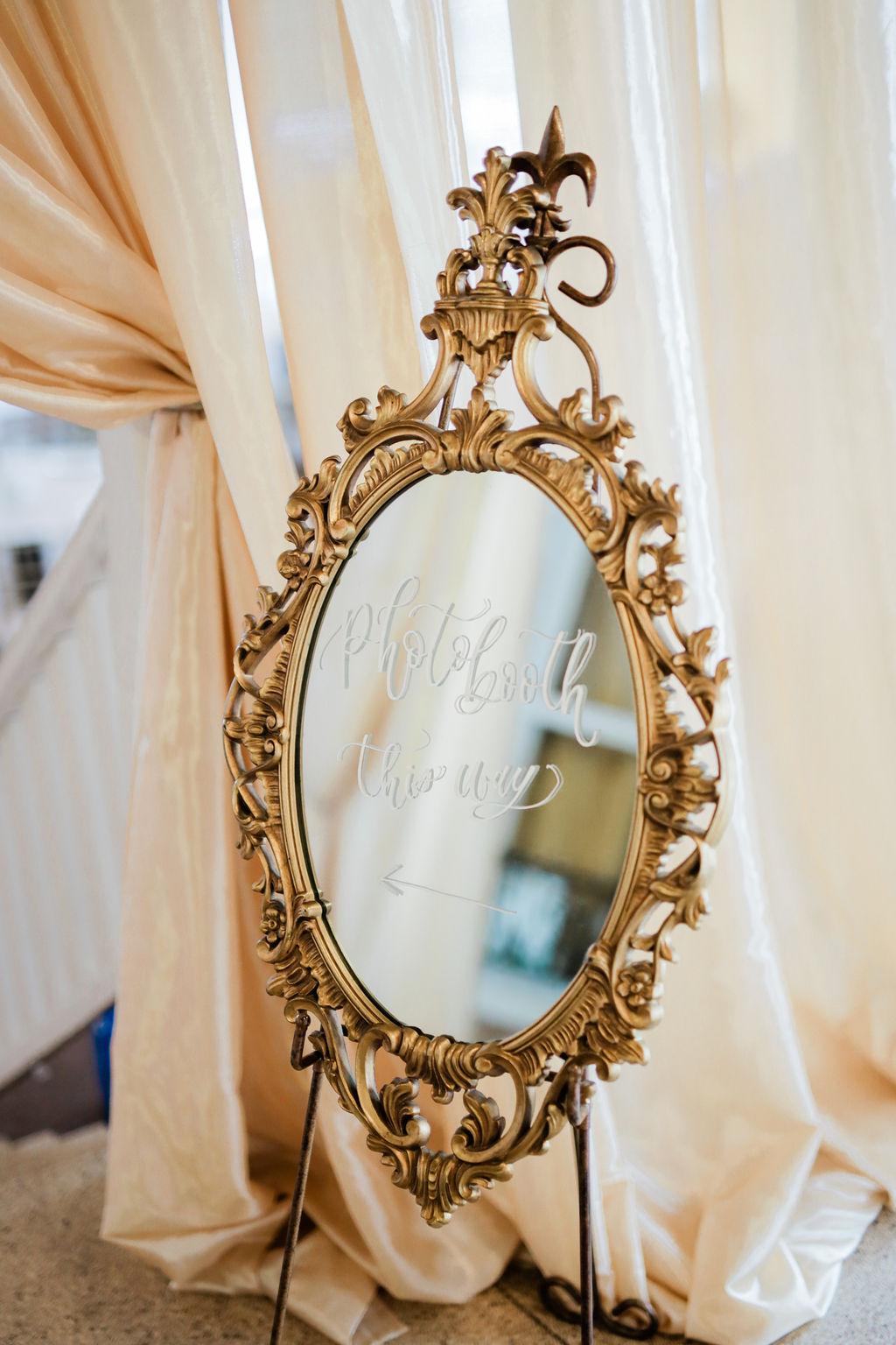 Gold mirror wedding sign: Wedding portrait by Nashville wedding photographer Maria Gloer Photography