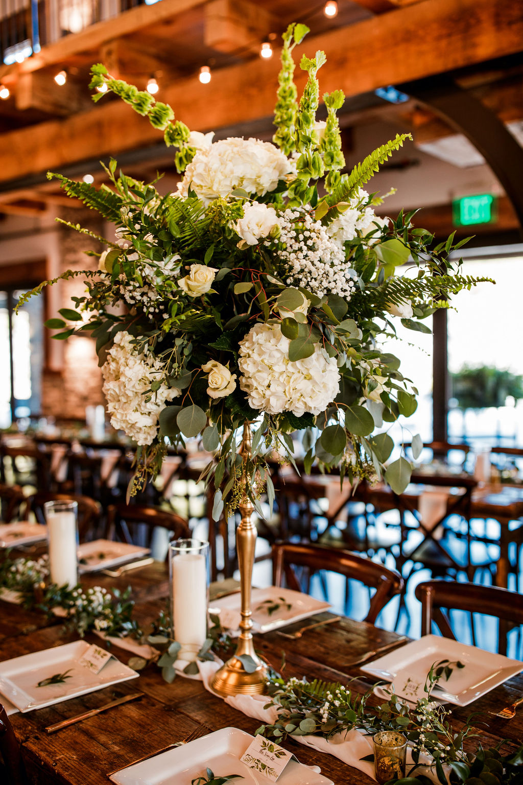 Tall Greenery and White Wedding Centerpieces: Beautiful Graystone Quarry Wedding featured on Nashville Bride Guide!