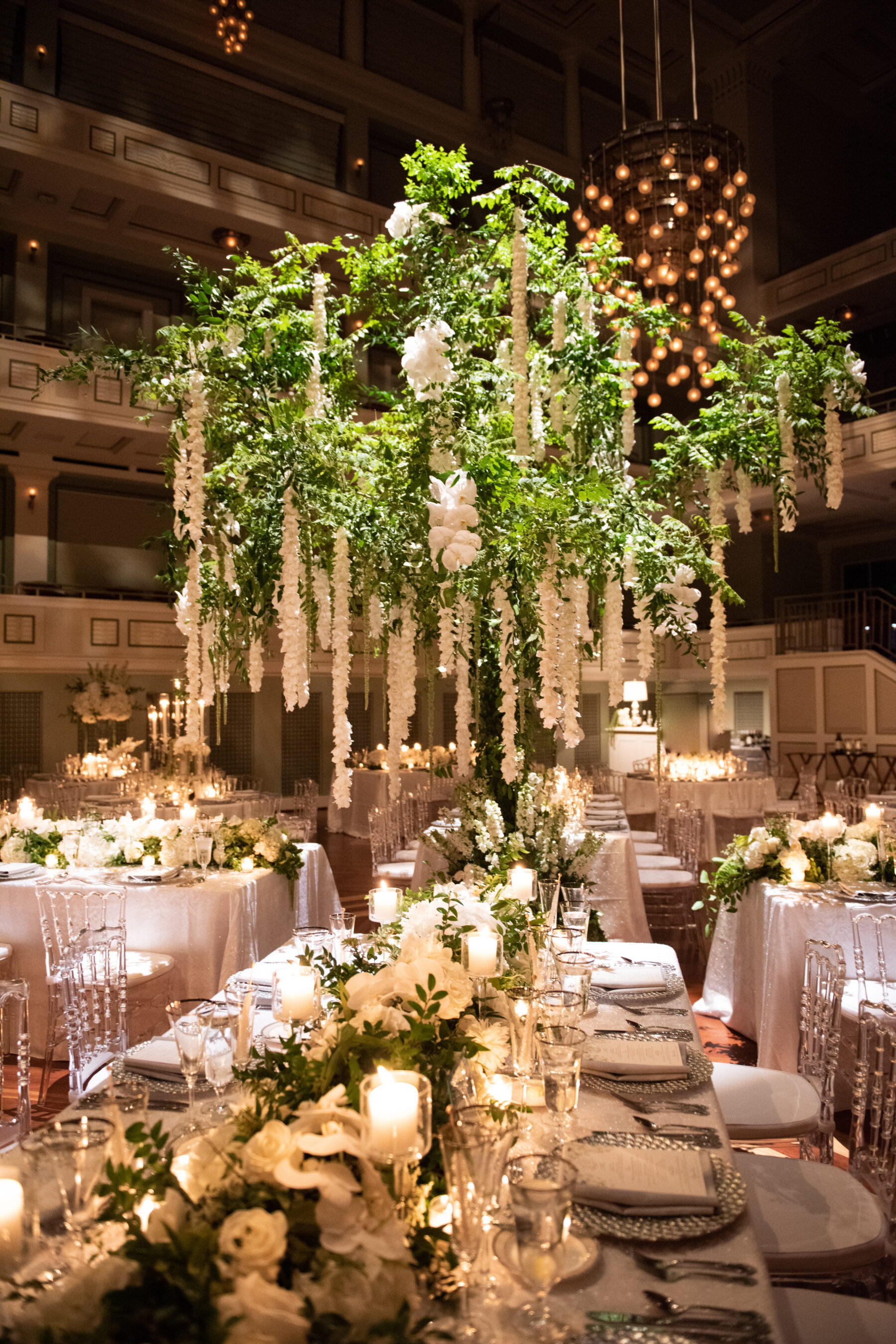 Hanging wedding flowers: Floral Filled Luxurious Wedding by LMA Designs featured on Nashville Bride Guide