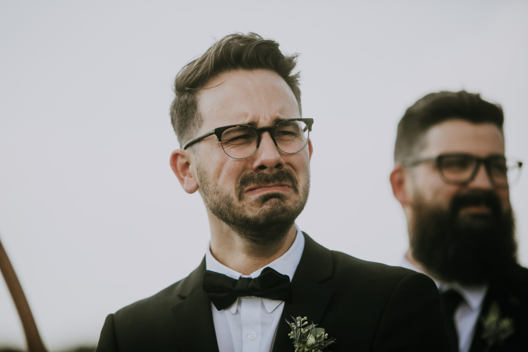 Grooms reaction to bride walking down the aisle: Nashville Wedding with Beautiful Views by Teale Photography featured on Nashville Bride Guide