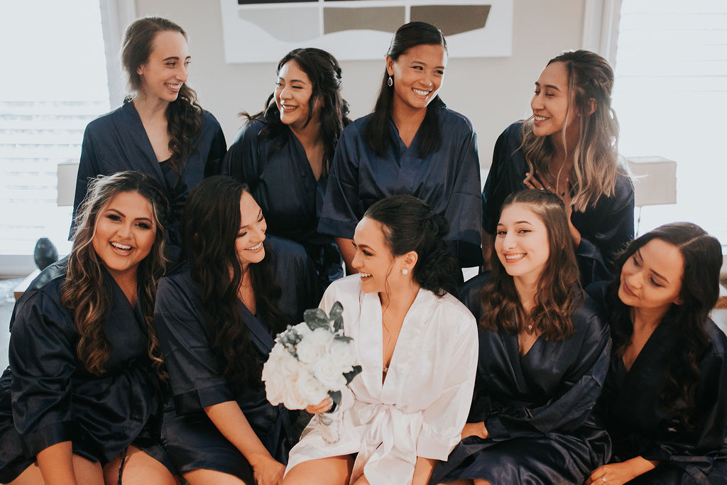 Navy blue bridal party robes