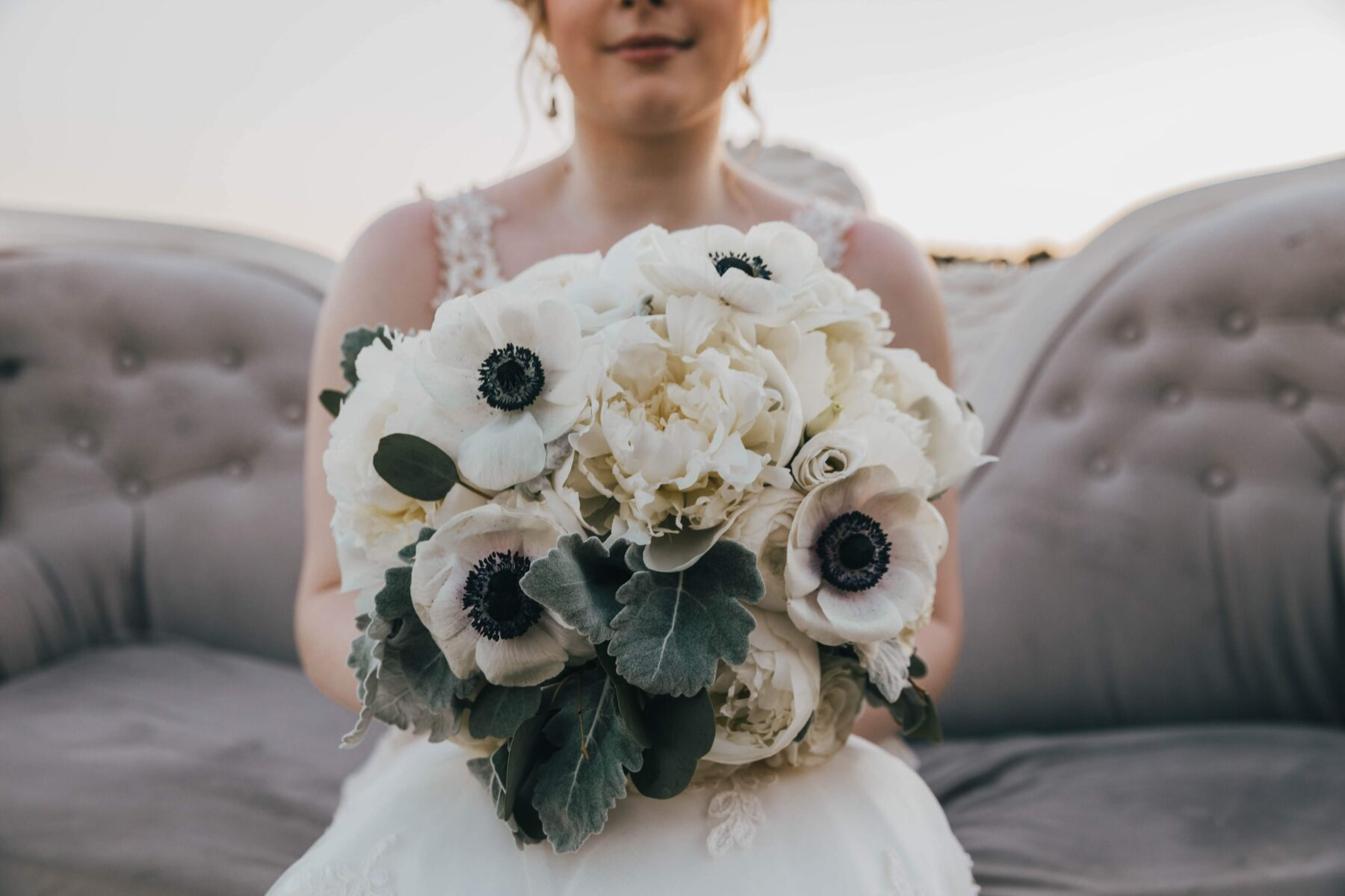White wedding bouquet: White Dove Barn Wedding by Grace Upon Grace Photography featured on Nashville Bride Guide