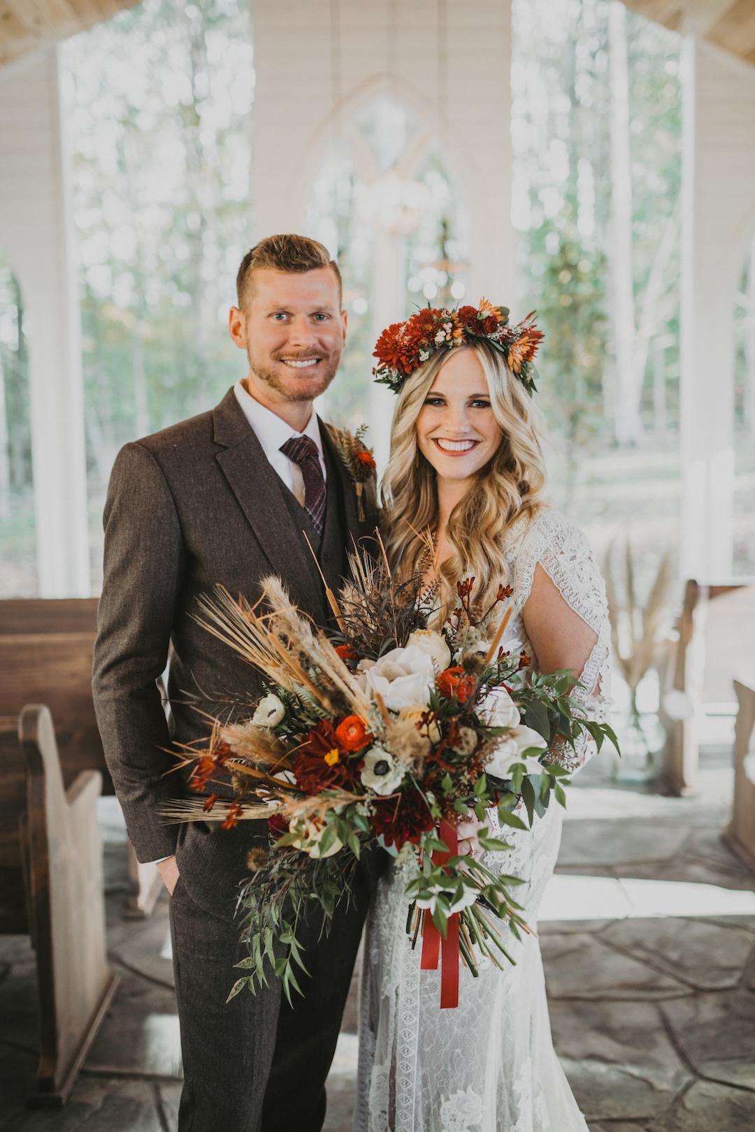 Organic fall wedding bouquet
