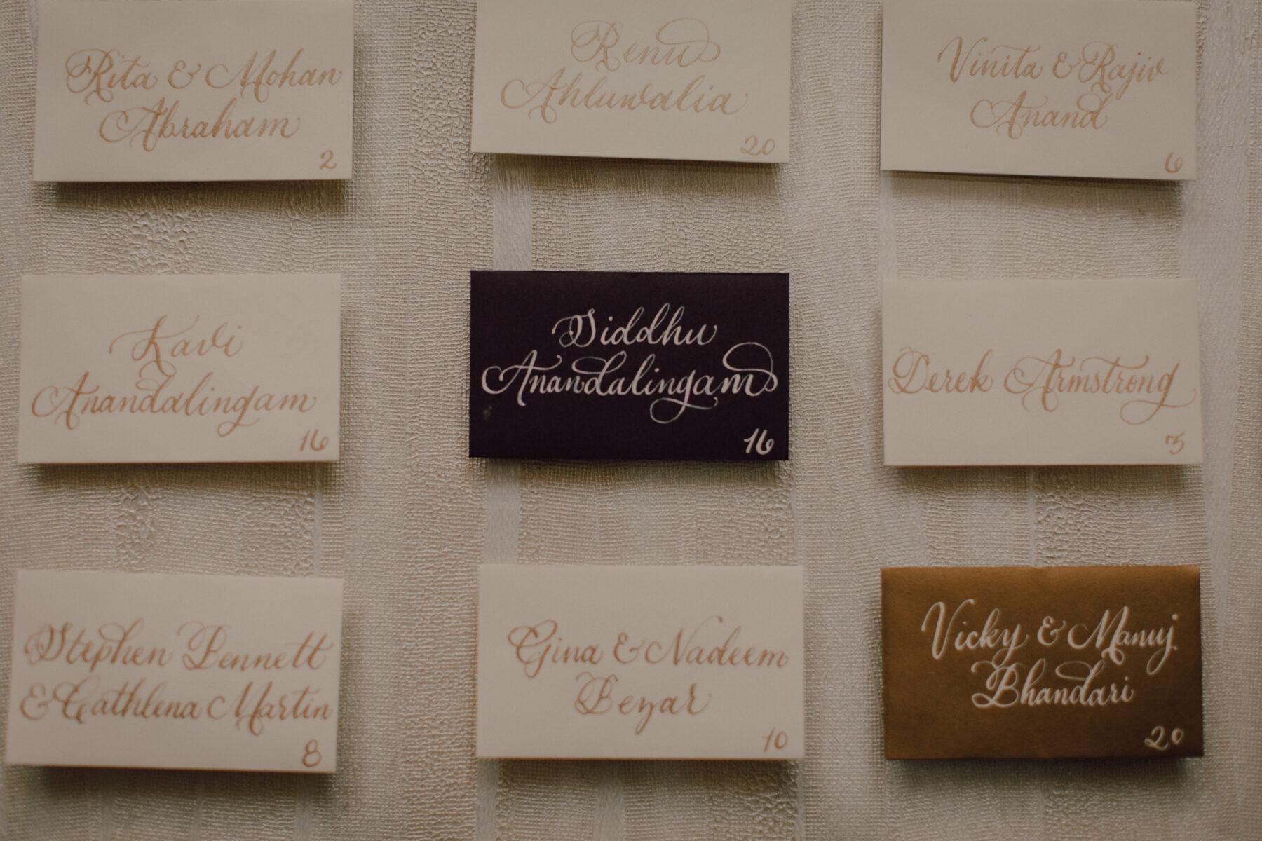 Wedding escort card calligraphy   Nashville Bride Guide