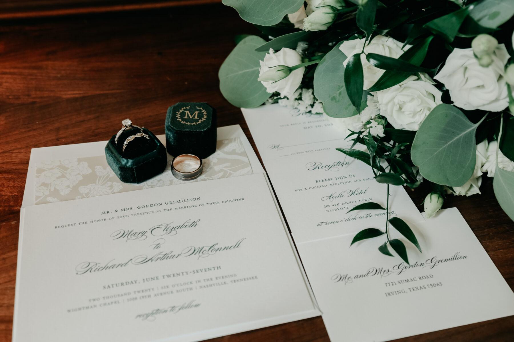 Velvet green monogrammed wedding ring box | Nashville Bride Guide