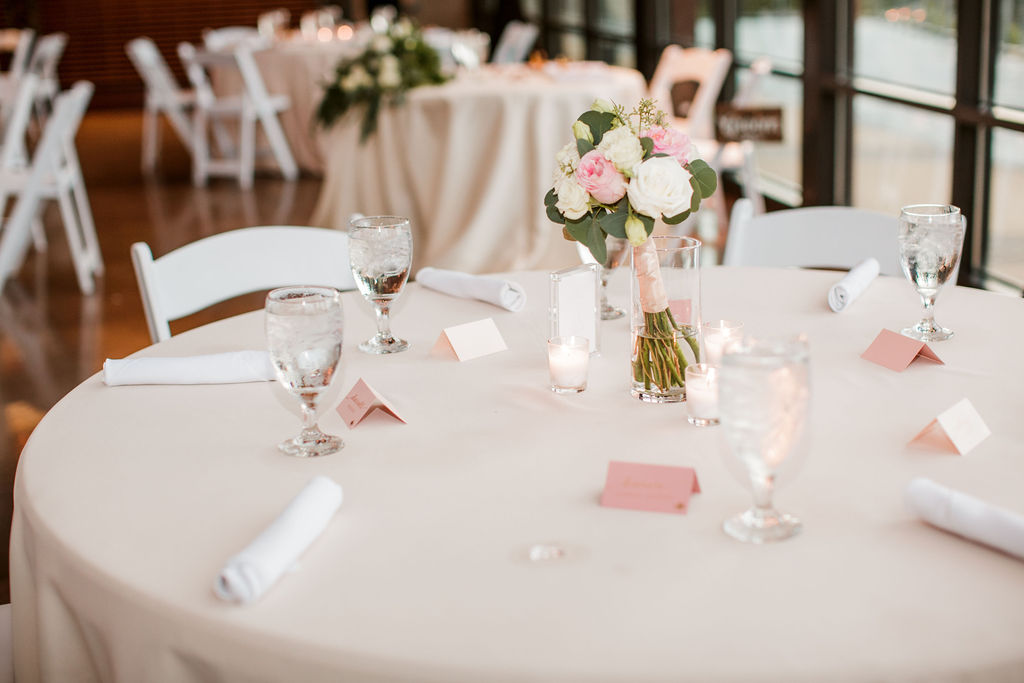 Pink and white wedding table decor | The Bridge Building