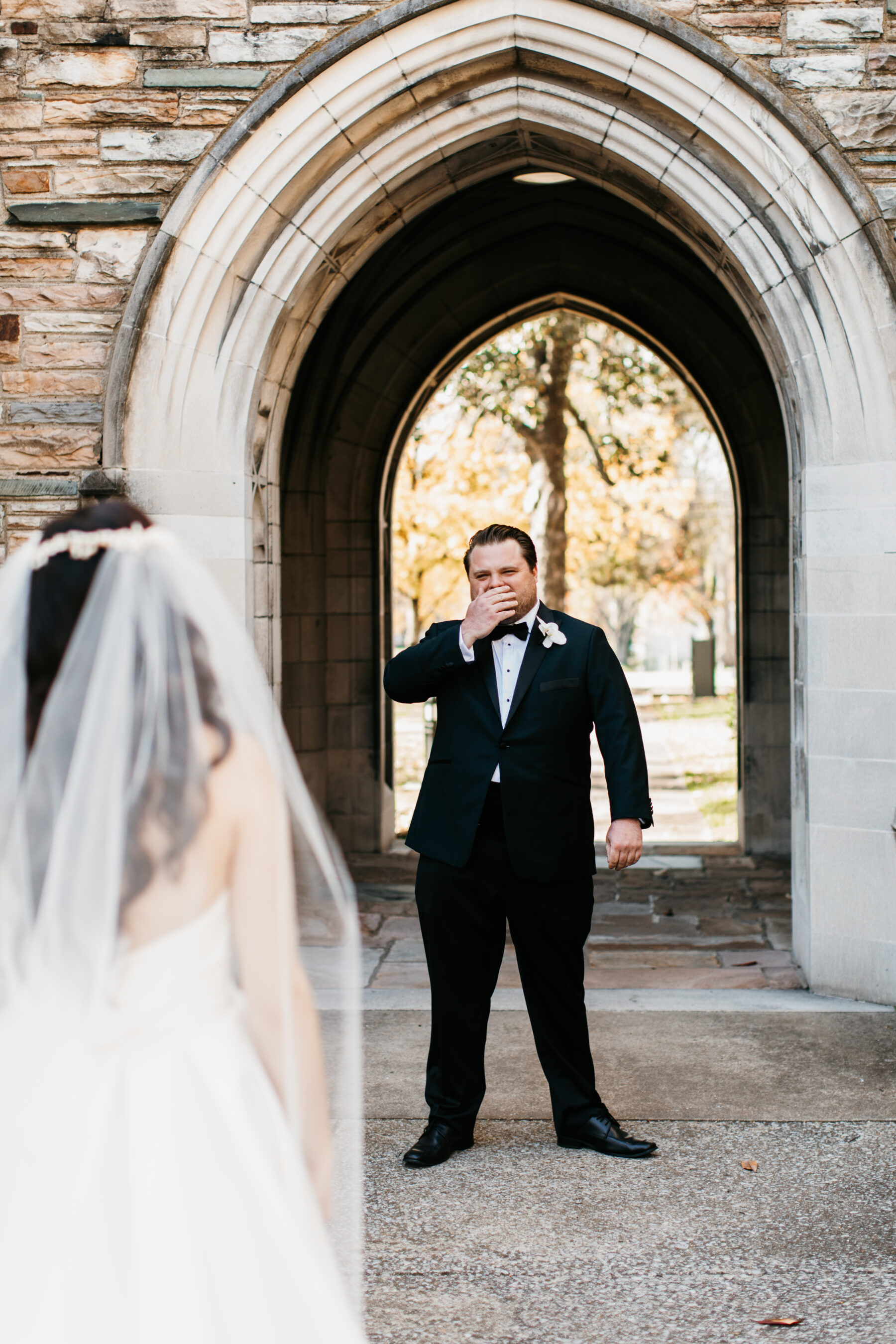 Groom's reaction to bride during first look | Nashville Bride Guide