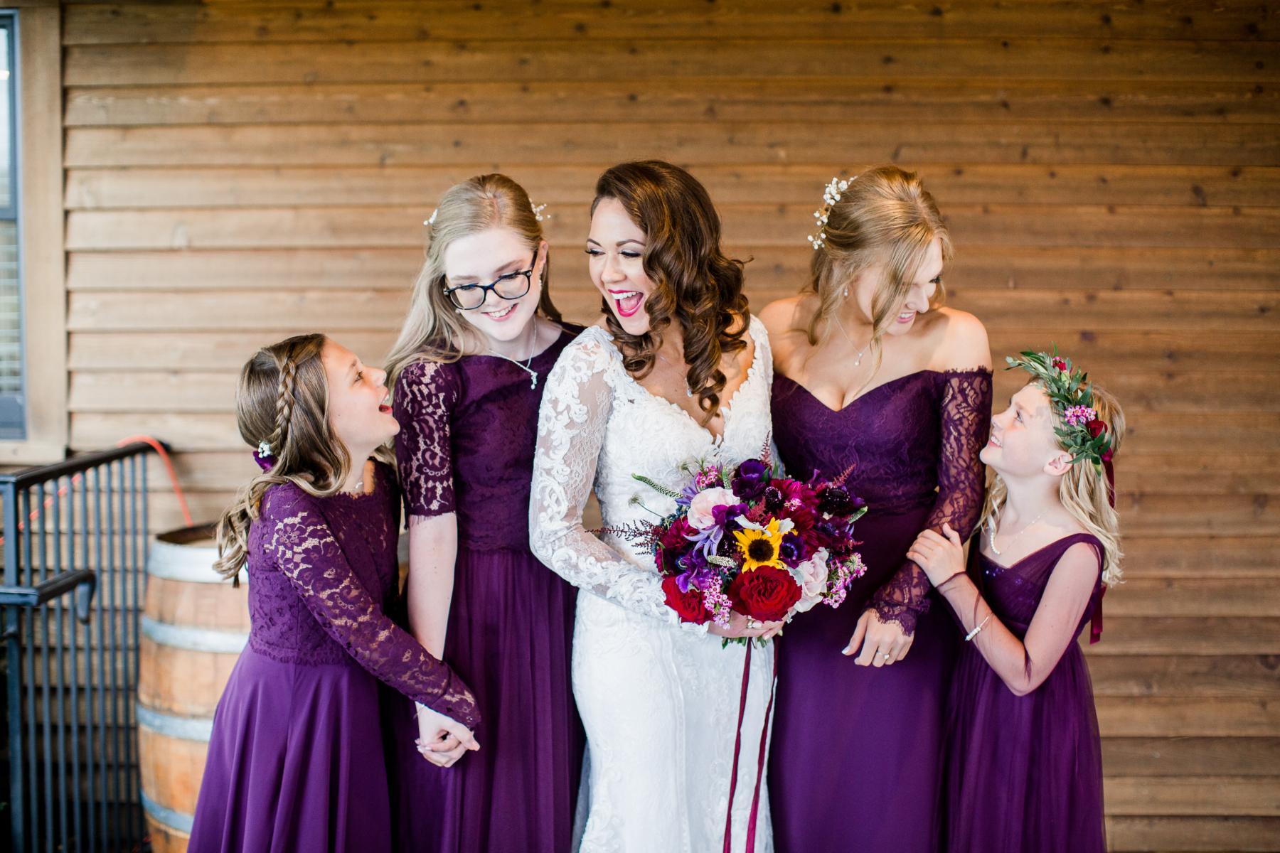 Dark purple bridesmaids dresses